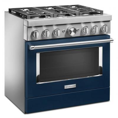 "36"" KitchenAid 5.1 Cu. Ft. Smart Commercial-Style Dual Fuel Range With 6 Burners - KFDC506JIB"