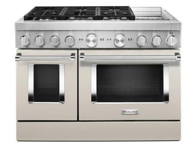 "48"" KitchenAid Smart Commercial-Style Dual Fuel Range With Griddle In Matte Milkshake - KFDC558JMH"