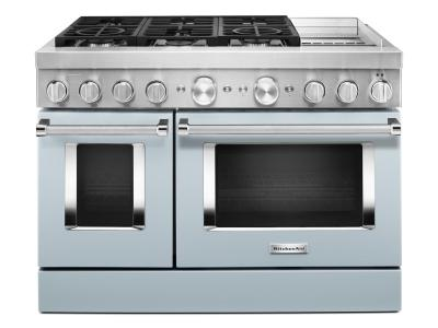 "48"" KitchenAid Smart Commercial-Style Dual Fuel Range With Griddle In Misty Blue - KFDC558JMB"
