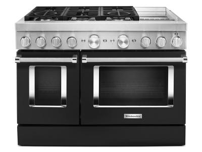 "48"" KitchenAid Smart Commercial-Style Dual Fuel Range With Griddle In Imperial Black - KFDC558JBK"