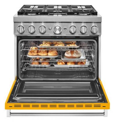 """36"""" KitchenAid 5.1 Cu. Ft. Smart Commercial-Style Dual Fuel Range With 6 Burners In Yellow Pepper - KFDC506JYP"""