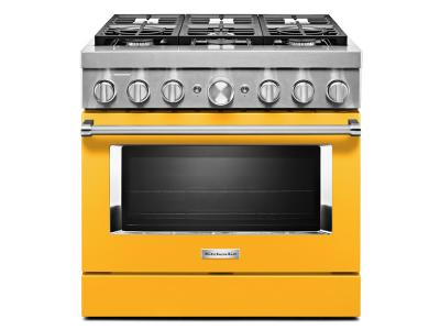 "36"" KitchenAid Smart Commercial-Style Dual Fuel Range With 6 Burners In Yellow Pepper - KFDC506JYP"