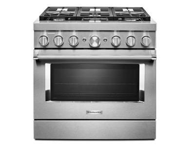 "36"" KitchenAid Smart Commercial-Style Dual Fuel Range With 6 Burners In Stainless Steel - KFDC506JSS"