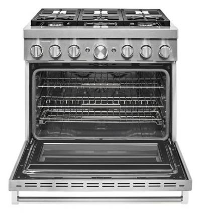 """36"""" KitchenAid 5.1 Cu. Ft. Smart Commercial-Style Dual Fuel Range With 6 Burners In Stainless Steel - KFDC506JSS"""