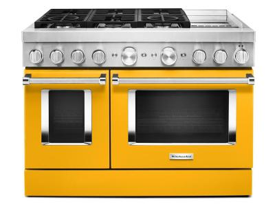 "48"" KitchenAid Smart Commercial-Style Dual Fuel Range With Griddle In Yellow Pepper - KFDC558JYP"