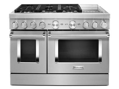 "48"" KitchenAid Smart Commercial-Style Dual Fuel Range With Griddle In Stainless Steel - KFDC558JSS"