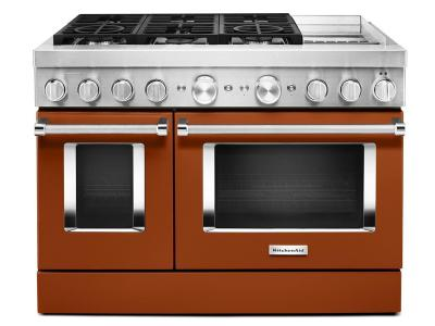 "48"" KitchenAid Smart Commercial-Style Dual Fuel Range With Griddle In Scorched Orange - KFDC558JSC"