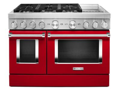 "48"" KitchenAid Smart Commercial-Style Dual Fuel Range With Griddle In Passion Red - KFDC558JPA"