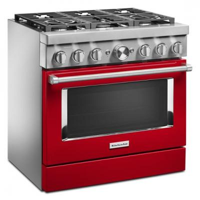 "36"" KitchenAid 5.1 Cu. Ft. Smart Commercial-Style Dual Fuel Range With 6 Burners - KFDC506JPA"
