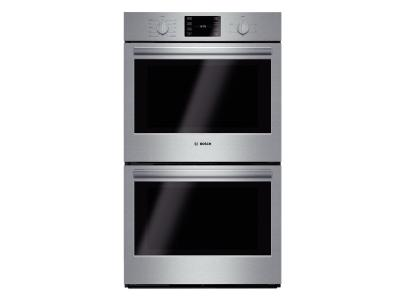 """30"""" Bosch 500 Series Double Wall Oven In Stainless Steel - HBL5651UC"""