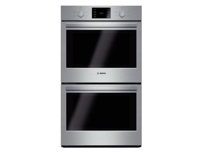 """30"""" Bosch 500 Series Double Wall Oven In Stainless Steel - HBL5551UC"""