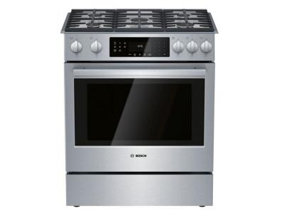 "30"" Bosch 800 Series Gas Slide-in Range Stainless steel - HGI8056UC"