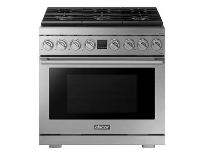 "36"" Dacor Transitional Style Freestanding Dual Fuel Range With 6 Burners - DOP36P86DLS"
