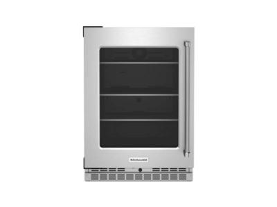 "24"" KitchenAid Undercounter Refrigerator with Glass Door and Shelves with Metallic Accents - KURL314KSS"