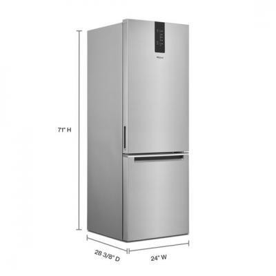 """24"""" Whirlpool 12.9 Cu. Ft. Wide Bottom Freezer Refrigerator - WRB533CZJZ"""
