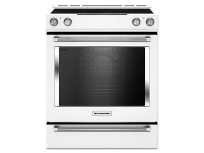 """30"""" KitchenAid 7.1 Cu. Ft. 5-Element Electric Convection Front Control Range With Baking Drawer - YKSEB900EWH"""