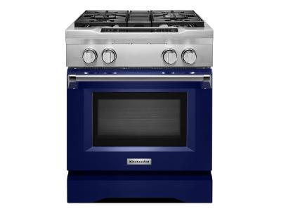 "30"" KitchenAid 4-Burner Dual Fuel Freestanding Range, Commercial Style KDRS407VBU"