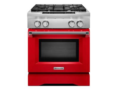 "30"" KitchenAid 4-Burner Dual Fuel Freestanding Range, Commercial Style -KDRS407VSD"