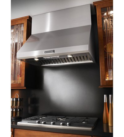 """36"""" KitchenAid  Wall-Mount 600-1200 CFM Canopy Hood, Commercial-Style - KXW8736YSS"""