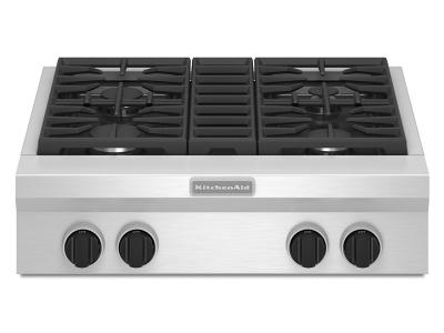 "30"" KitchenAid 4-Burner Gas Rangetop, Commercial-Style - KGCU407VSS"