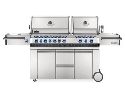 """94"""" Napoleon Prestige PRO 825 Natural Gas Grill With Power Side Burner, Infrared Rear And Bottom Burners -PRO825RSIBNSS-3"""