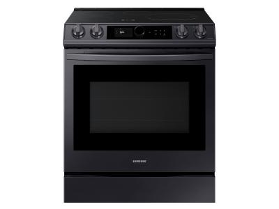 """30"""" Samsung 6.3 Cu. Ft. Induction Range With Wi-Fi And Air Fry In Fingerprint Resistant Black Stainless Steel - NE63T8911SG"""