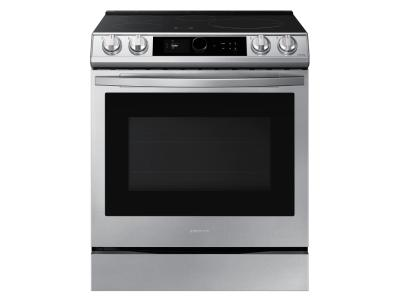 """30"""" Samsung 6.3 Cu. Ft. Induction Range With Wi-Fi And Air Fry In Fingerprint Resistant Stainless Steel - NE63T8911SS"""