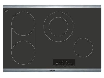 "31"" Bosch 800 Series  Electric Cooktop Black with Stainless Steel Frame-NET8068SUC"