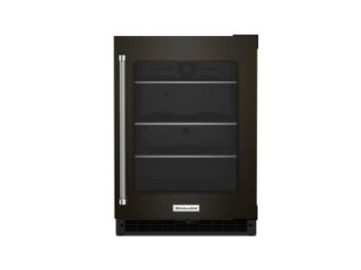 """24"""" KitchenAid Undercounter Refrigerator with Glass Door and Shelves with Metallic Accents - KURR314KBS"""