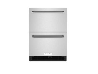 """24"""" KitchenAid Undercounter Double-Drawer Refrigerator in Stainless Steel  - KUDR204KSB"""