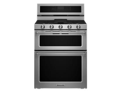 "30"" KitchenAid 5 Burner Dual Fuel Double Oven Convection Range - KFDD500ESS"