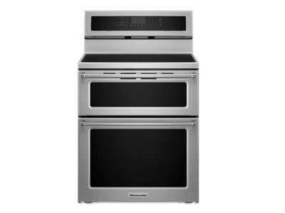 KitchenAid 30-Inch 5 Burner Induction Double Oven Convection Range - YKFID500ESS
