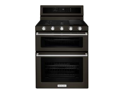 "30"" KitchenAid Black Stainless Steel Freestanding Gas Double Oven - KFGD500EBS"