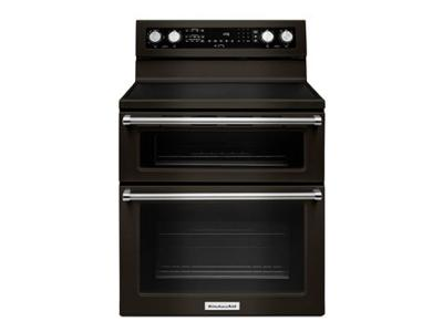 "30"" KitchenAid 5 Burner Electric Double Oven Convection Range - YKFED500EBS"