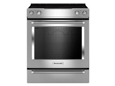 "30"" KitchenAid 5-Element Electric Convection Front Control Range with Baking Drawer - YKSEB900ESS"