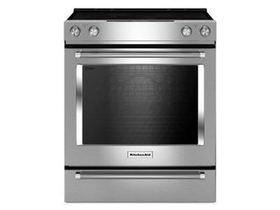"30"" KitchenAid 5-Element Electric Convection Front Control Range - YKSEG700ESS"