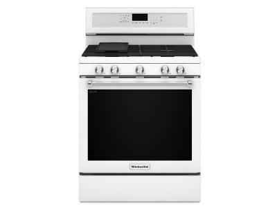 "30"" KitchenAid 5-Burner Gas Convection Range - KFGG500EWH"