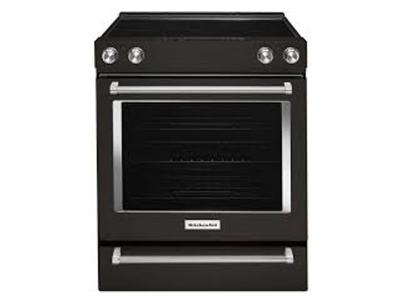 "30"" KitchenAid 5-Element Electric Convection Front Control Range - YKSEG700EBS"