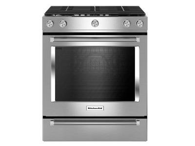 "30"" KitchenAid 5-Burner Gas Convection Front Control Range - KSGG700ESS"