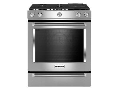 "30"" KitchenAid 5 Burner Front Control Gas Convection Range with Baking Drawer - KSGB900ESS"