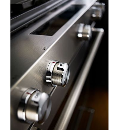 "30"" KitchenAid 5 Burner Front Control Gas Convection Range with Baking Drawer - KSGB900ESS"