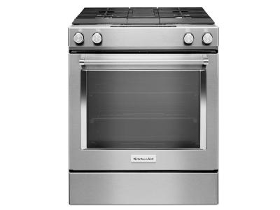 "30"" KitchenAid 4-Burner Dual Fuel Downdraft Front Control Range KSDG950ESS"