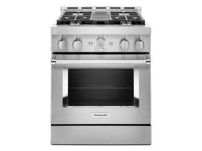 """30"""" KithcenAid 4.1 Cu. Ft. Smart Commercial-Style Gas Range With 4 Burners - KFGC500JSS"""