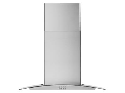 """30"""" Whirlpool Curved Glass Wall Mount Range Hood In Stainless Steel - WVW51UC0LS"""
