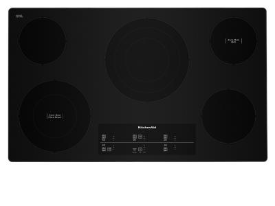 """36"""" KitchenAid Electric Cooktop With 5 Elements and Touch-Activated Controls In Stainless Steel - KCES956KSS"""