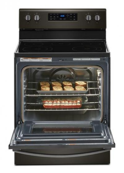 """30"""" Whirlpool 5.3 Cu. Ft. Electric Range With Frozen Bake Technology In Black Stainless - YWFE535S0JV"""