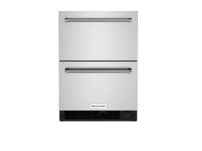 """24"""" Kitchenaid 4.29 Cu. Ft. Undercounter Double-Drawer Refrigerator in Stainless Steel - KUDF204KSB"""