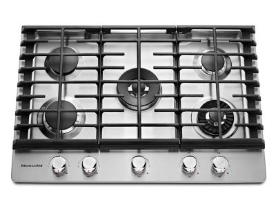 "30"" KitchenAid 5-Burner Gas Cooktop with Griddle - KCGS950ESS"