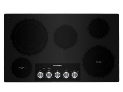 "36"" KitchenAid Electric Cooktop with 5 Elements and Knob Controls-KCES556HSS"