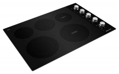 "30"" KitchenAid  Electric Cooktop with 5 Elements and Knob Controls-KCES550HBL"